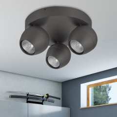AZzardo Pera 3 Gray Round - Ceiling - AZZardo-lighting.co.uk